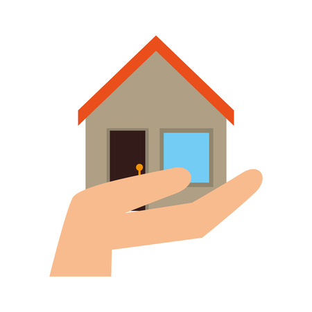 residential home: house building hand home property residential exterior vector illustration Illustration