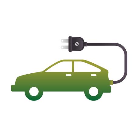ecology electric car green vehicle plug enviromental vector illustration Illustration