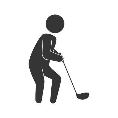 game equipment: golf sport player man game equipment position vector illustration