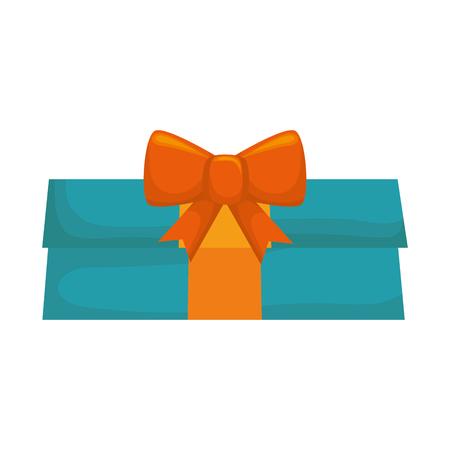blue gift box: blue gift box present orange ribbon decoration vector illustration Illustration