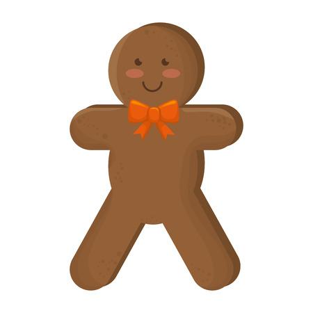 galleta de jengibre: jengibre galleta de personaje de dibujos animados sonriente de la pajarita ilustración vectorial navidad