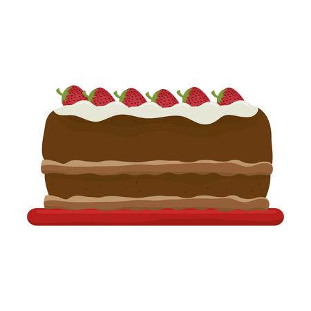 taste: cake dessert food strawberry pastry bakery sweet taste vector illustration