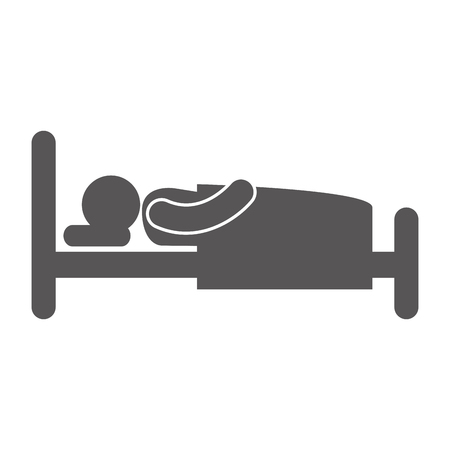 woman lying in bed: bed man slepping nap bedtime relax silhouette vector illustration