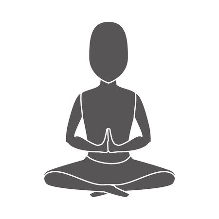 man meditating: yoga pose meditating man relaxation exercise silhouette vector illustration