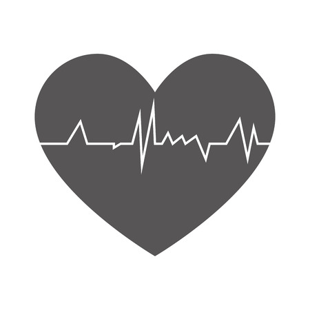 rhythm: heart cardiogram  rhythm graph health medicine silhouette vector illustration