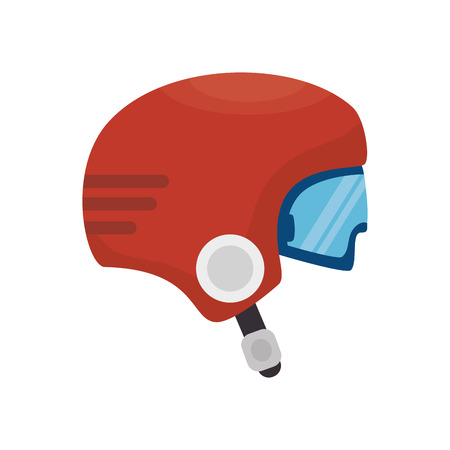 casco rojo: red helmet sport protection equipment wear accessory vector illustration