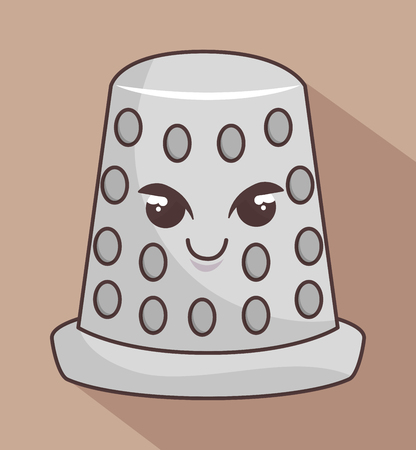thimble: thimble metal character icon vector illustration graphic