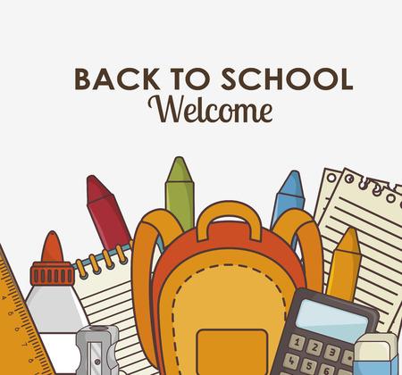 school kit: school supplies kit icon vector illustration graphic