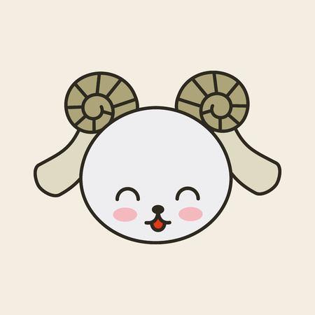tender: cute goat tender isolated icon vector illustration design