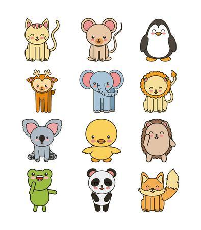 animalitos tiernos: animales conjunto tierna linda aislada del vector del icono, ilustraci�n, dise�o
