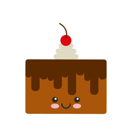 kawaii: delicious cake kawaii character vector illustration design