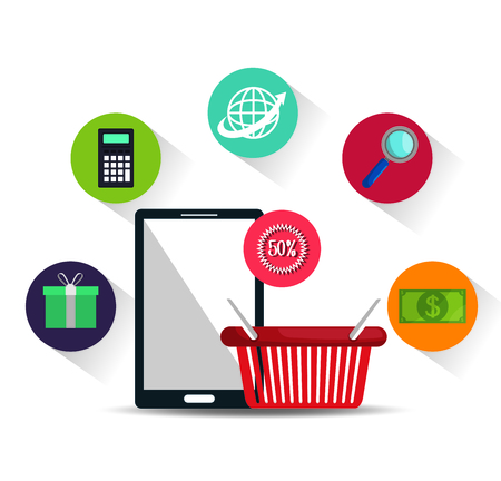electronic commerce: electronic commerce marketing icon vector illustration graphic