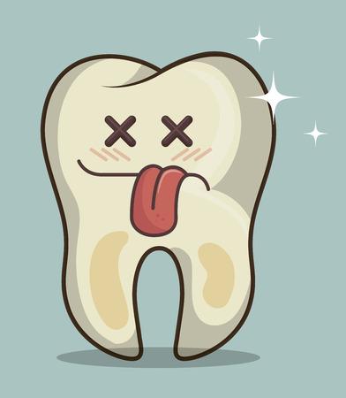 dientes sucios: carácter diente humano icono de la ilustración de gráficos vectoriales