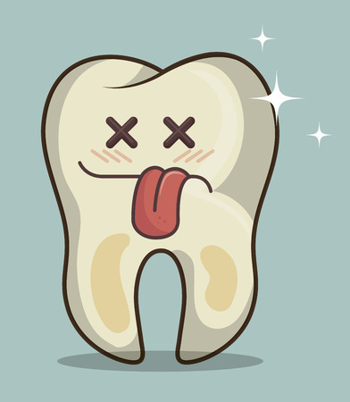 dirty teeth: human tooth character icon vector illustration graphic Illustration
