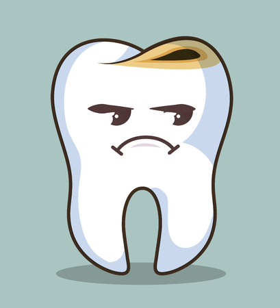 human tooth character icon vector illustration graphic Illustration