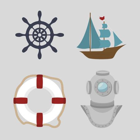 set of icons relating to the sea vector illustration graphic Illustration
