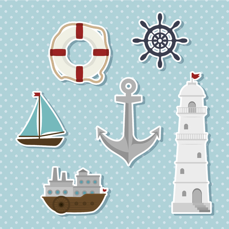 relating: set of icons relating to the sea vector illustration graphic Illustration