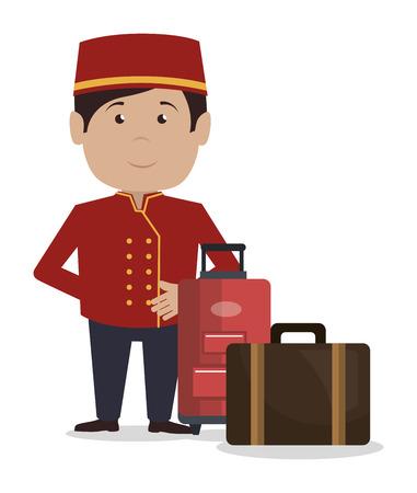 bellboy service hotel isolated icon vector illustration design Illustration
