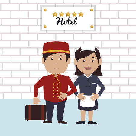 bellboy service hotel isolated icon vector illustration design Illustration
