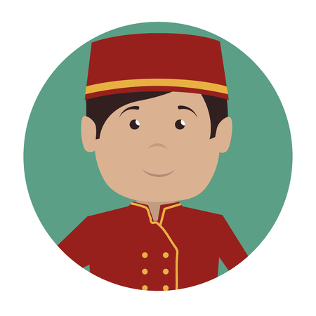 hotel lobby: bellboy service hotel isolated icon vector illustration design Illustration