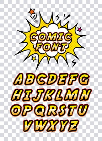 comic font alphabet pop art vector illustration design Illustration