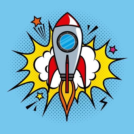 vector de illustratieontwerp van het raket grappig pop-art