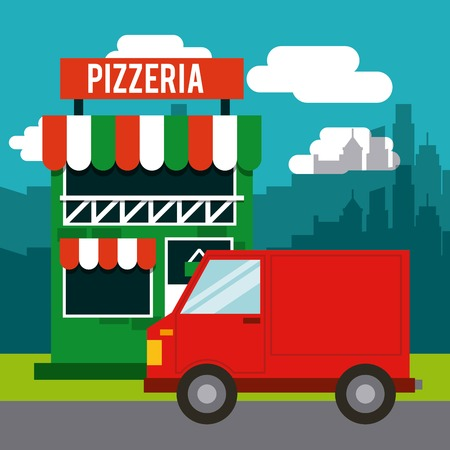 pizzeria label design: delivery pizza restaurant fast vector illustration design