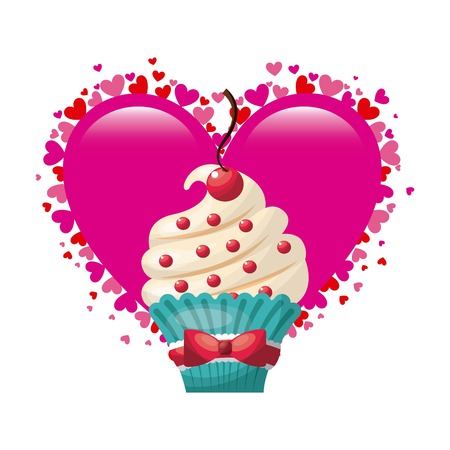 postcard design: love postcard sweet dessert vector illustration design