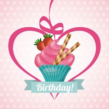 happy birthday sweet dessert celebration vector illustration design Illustration