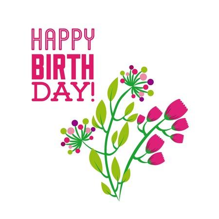 happy birthday celebration poster floral vector illustration design