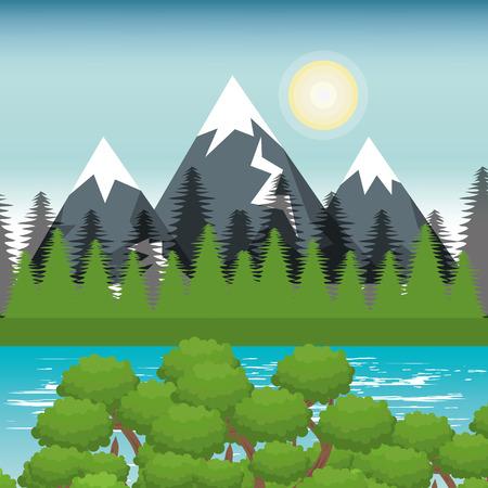 beautiful landscape background icon vector illustration design