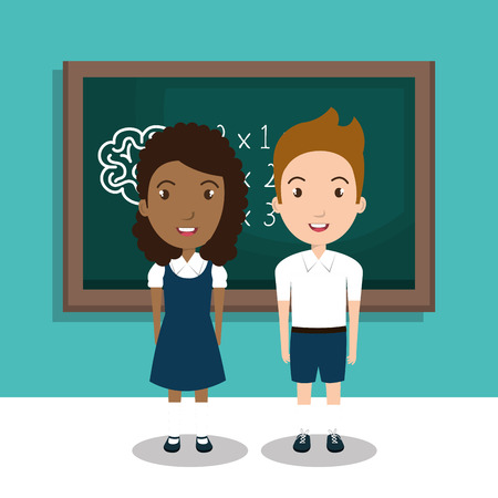 class room: students in the class room vector illustration icon