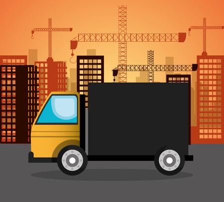 heavy construction: heavy machinary over city construction background vector illustration icon