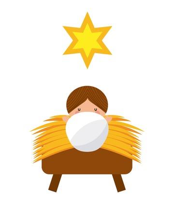 nativety: jesus christ baby manger character vector illustration design Illustration