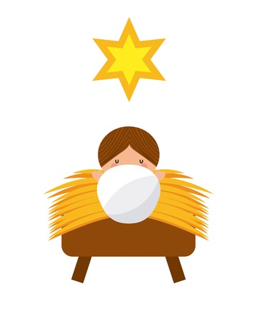 jesus christ baby manger character vector illustration design Illustration