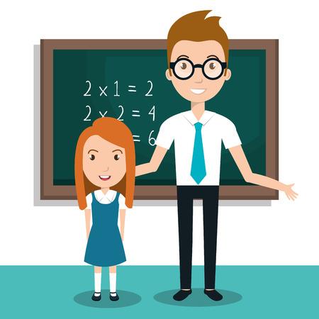 student leraar pictogram vectorillustratieontwerp