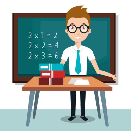 Leraar school klaslokaal pictogram vector illustratie ontwerp