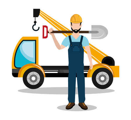 constructor: builder constructor worker icon vector illustration design