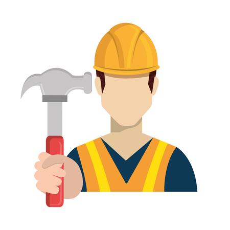 man head: builder constructor worker icon vector illustration design