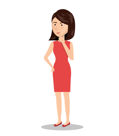 person thinking: woman person thinking icon vector illustration design