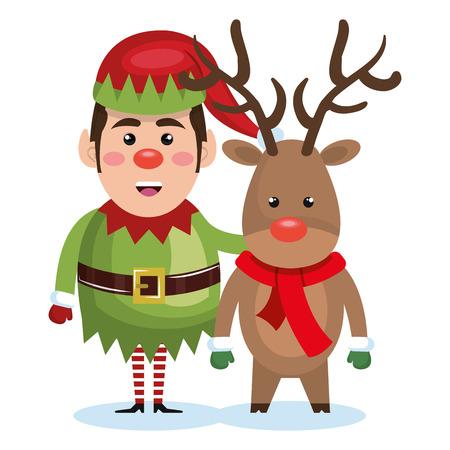 santa helper: elf christmas character icon vector illustration design