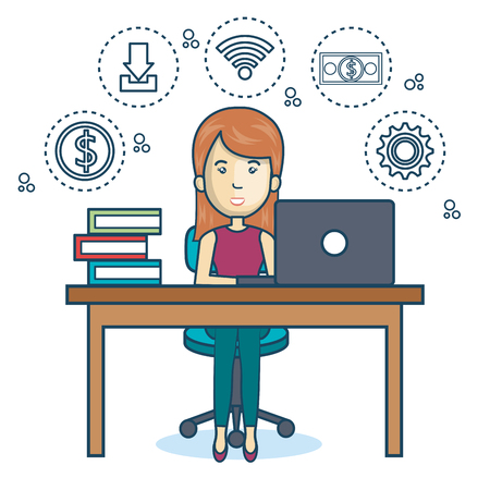 design office: person working office icon vector illustration design