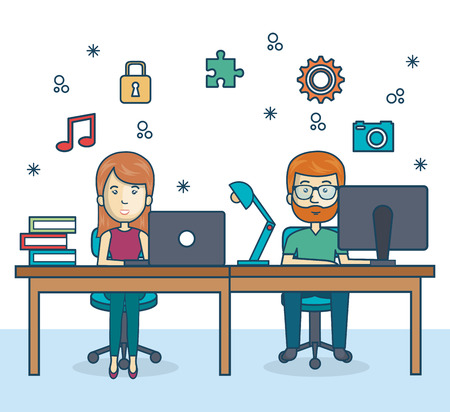 design office: people working office icon vector illustration design