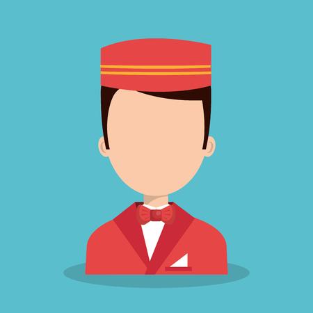 hospitality staff: hotel worker bellboys icon vector illustration design Illustration