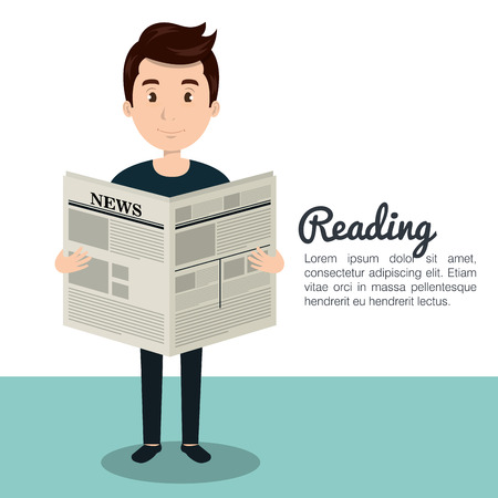 person reading: man reading newspaper icon vector illustration design Illustration