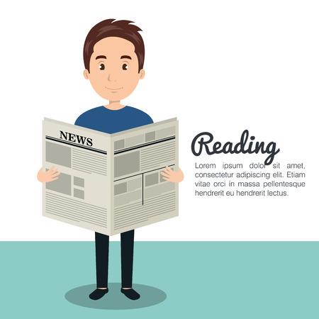 homme lisant le journal conception icône illustration vectorielle