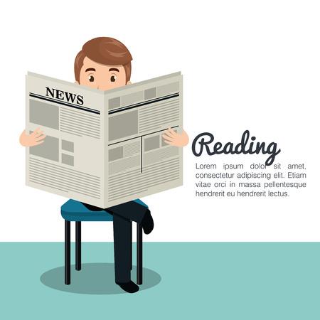 tabloid: man reading newspaper icon vector illustration design Illustration