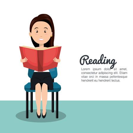 textbook: woman reading textbook icon vector illustration design Illustration