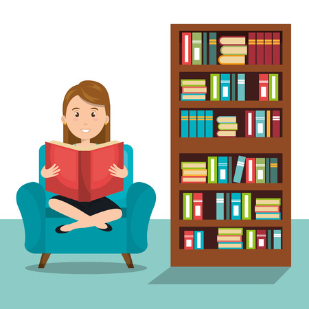 woman reading textbook icon vector illustration design Illustration