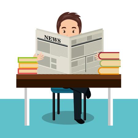 educated: man reading newspaper icon vector illustration design Illustration
